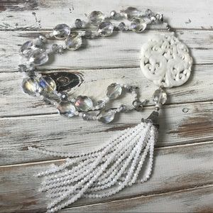 Jewelry - Huge carved white stone Phoenix asian necklace